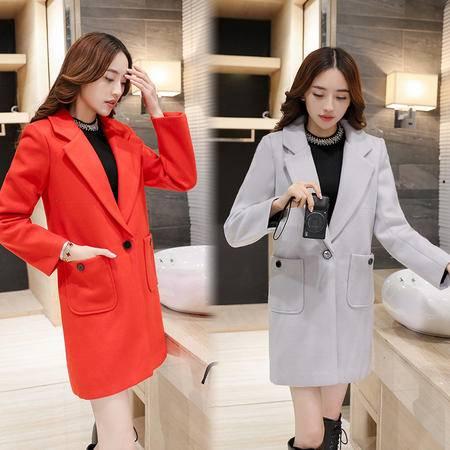 JEANE-SUNP冬季女装西装领一粒扣中长款口袋夹棉加厚保暖毛呢外套呢子大衣褂