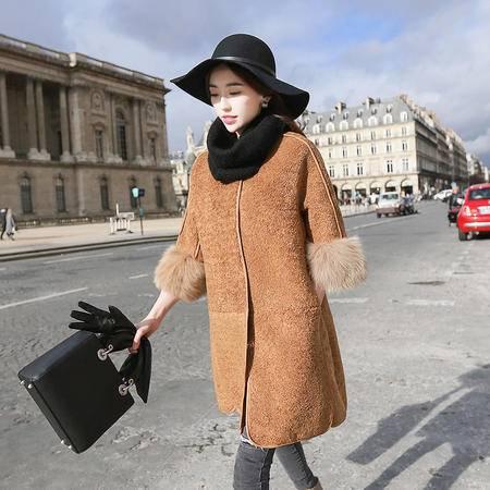 JEANE-SUNP2016冬装欧货潮女装韩国棉衣中长款羊羔毛皮外套真狐狸毛袖
