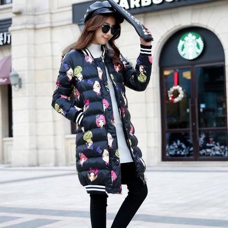JEANE-SUNP女士棉袄中长款宽松及膝彩色棉衣时尚个性常规韩版冬季外套潮女