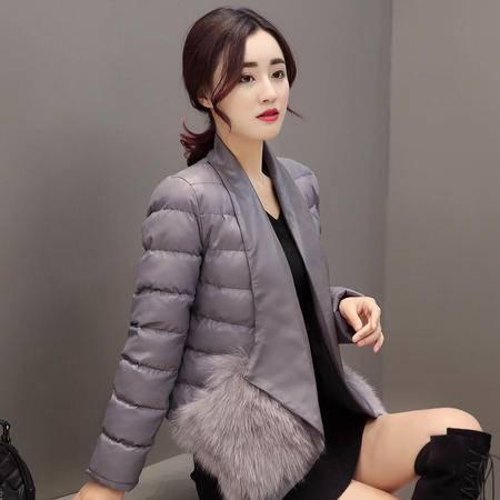 JEANE-SUNP冬装新款时尚短款棉衣女个性毛口袋名媛气质羽绒棉服短棉袄外套潮