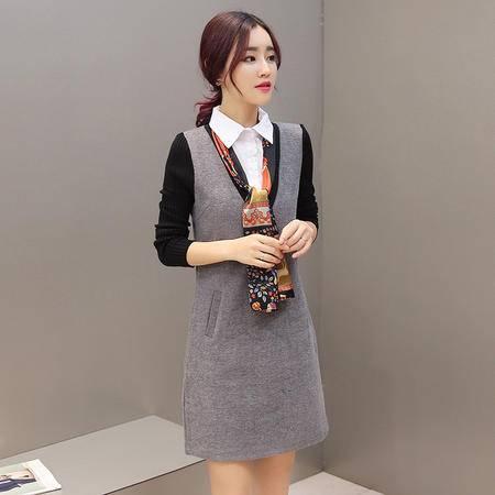 JEANE-SUNP2016秋冬新款韩版女装修身显瘦衬衫领假两件套连衣裙(配送丝巾)