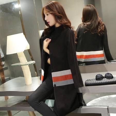 JEANE-SUNP2016冬装新款韩版毛呢外套女 修身大码长袖中长款呢子大衣女潮