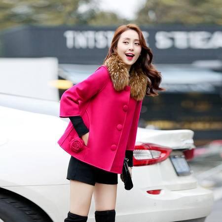 JEANE-SUNP2016冬装新款韩范羊毛呢大衣潮小香风加厚斗篷毛呢外套女短款韩版