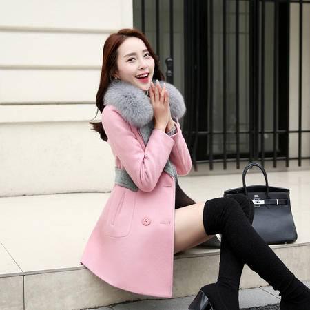 JEANE-SUNP韩版修身中长款羊毛呢子大衣狐狸毛领双排扣大码时尚毛呢外套