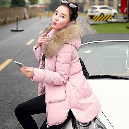 JEANE-SUNP2016冬装新款欧货甜美修身加厚毛领羽绒服女短款羽绒衣外套潮