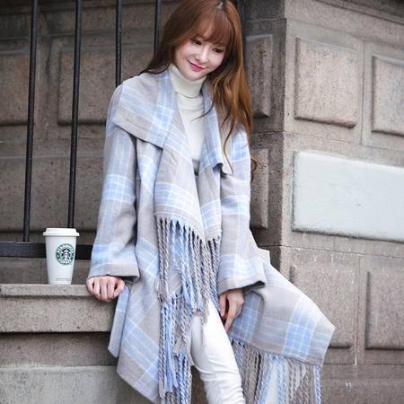 JEANE-SUNP2016冬韩版新款浅蓝色格子流苏系腰呢子大衣女格子中长款外套