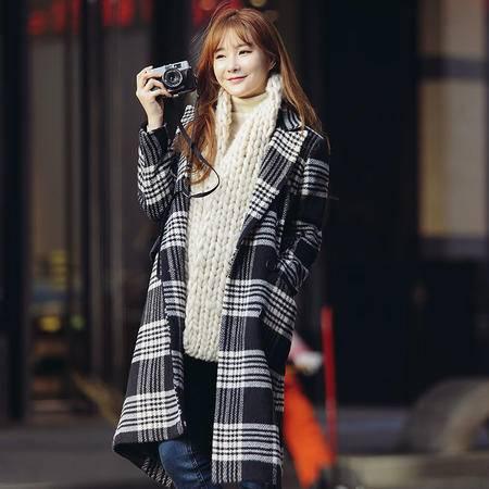 JEANE-SUNP2016冬装新款夹棉呢子大衣女韩版羊毛呢外套女冬韩范长款格子尼衣