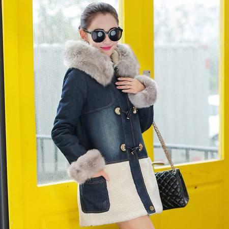 JEANE-SUNP2016新款冬装韩国棉衣女中长款牛仔棉服潮连帽大毛领加绒牛仔外套