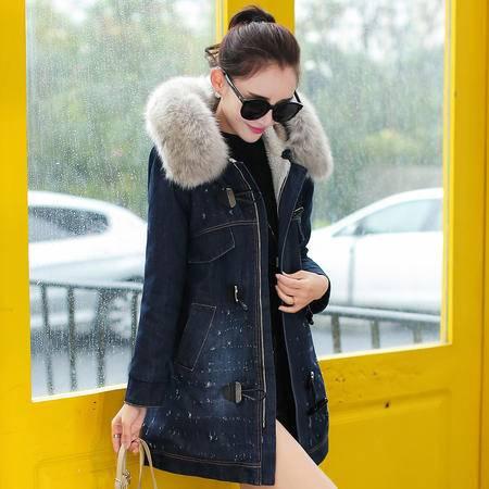 JEANE-SUNP2016冬装中长款连帽大毛领加厚牛角扣牛仔棉衣女士羊羔毛加绒外套