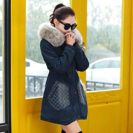 JEANE-SUNP2016冬季牛仔棉衣外套女 韩版中长款大毛领修身显瘦加绒加厚时尚棉服