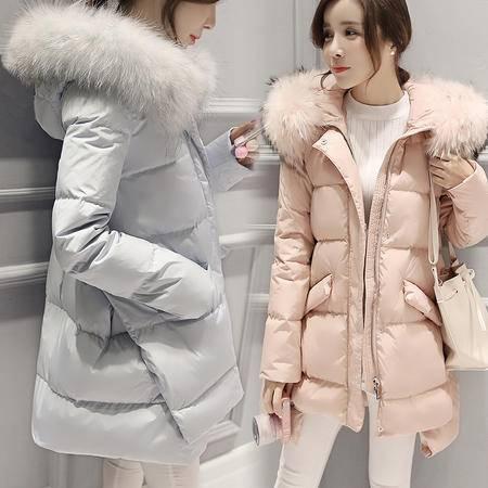 JEANE-SUNP2016冬季新款韩版时尚羽绒服女 中长款修身显瘦大毛领羽绒衣外套