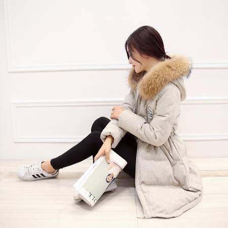 JEANE-SUNP2016冬季棉衣女加厚韩版大码中长款棉服收腰大毛领连帽棉袄外套潮