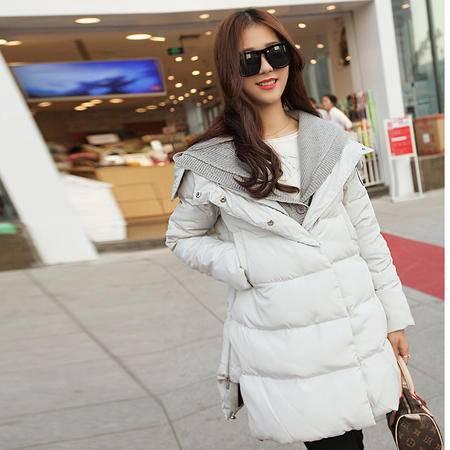 JEANE-SUNP2016年冬季女中长款假两件配针织衫连帽羽绒服加厚学生韩版外套潮