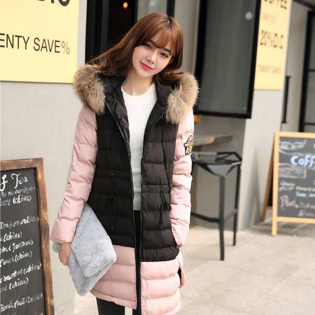 JEANE-SUNP2016冬季大码女装外套棉衣 女中长款真毛领连帽棉服保暖羽绒棉衣