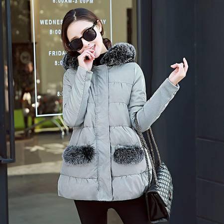 JEANE-SUNP2016新款时尚狐狸毛领加厚a字棉衣女中长款连帽拼接修身冬装外套