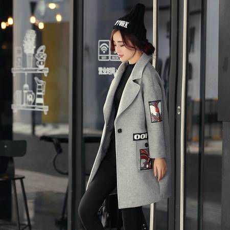 JEANE-SUNP2016新款韩版中长款尼大衣印花时尚贴布精美呢子大衣外套