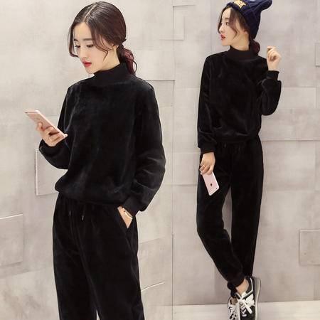 JEANE-SUNP2016年冬季韩版时尚休闲套装中领两件套加绒保暖款潮