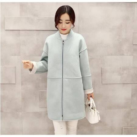 JEANE-SUNP2016新款韩版大衣纯色时尚休闲棒球领毛呢外套