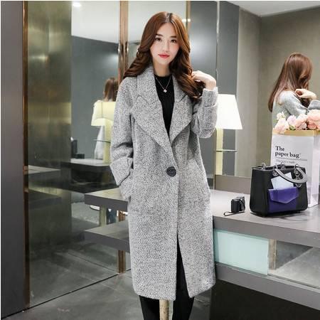 JEANE-SUNP2016冬季新款韩版女装大翻领中长款羊毛呢大衣休闲时尚毛呢外套女