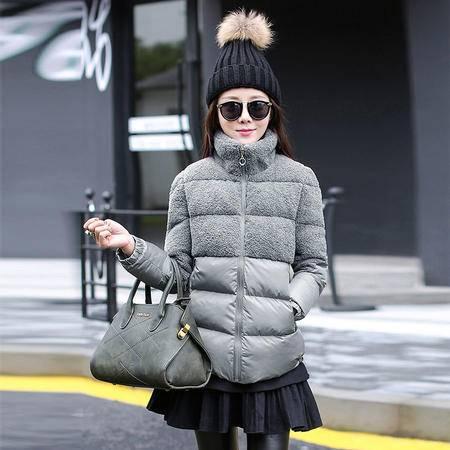 JEANE-SUNP2016冬装外套修身显瘦韩版时尚休闲羊羔绒棉服袄加厚潮