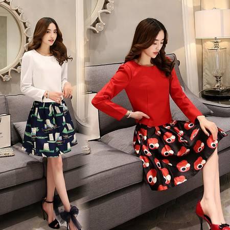 JEANE-SUNP2016新款春装圆领两件套时尚韩版A字裙简约大气版