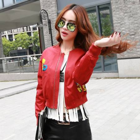 JEANE-SUNP2016春季新款韩版百搭修身短外套大码连帽长袖棒球服时尚夹克女