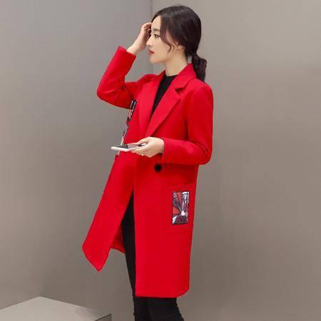 JEANE-SUNP2016年冬季韩版时尚西装领中长款直筒贴布毛呢子大衣