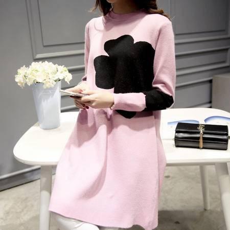 JEANE-SUNP2016冬装新款女装韩版花朵宽松显瘦针织打底高领毛衣套头女中长款