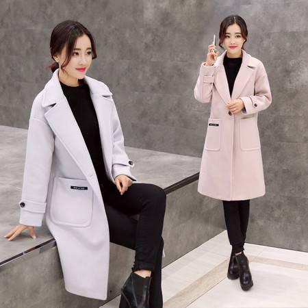 JEANE-SUNP2016韩版冬装中长款修身显瘦毛呢大衣外套呢子外套潮