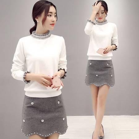 JEANE-SUNP2016年春季新款针织毛衣短裙优雅时尚两件套镶钻白色百搭潮款