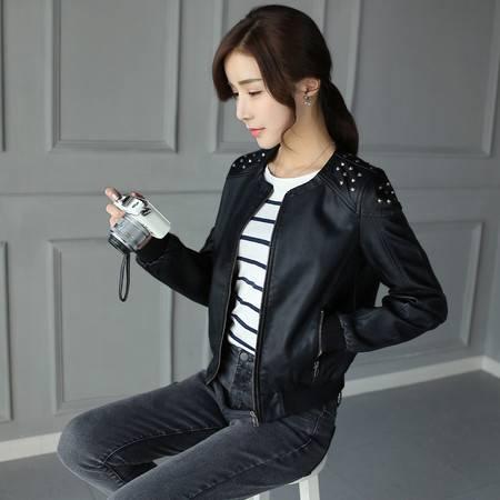 JEANE-SUNP2016春款新款皮衣女短款PU小外套韩版修身显瘦机车夹克潮
