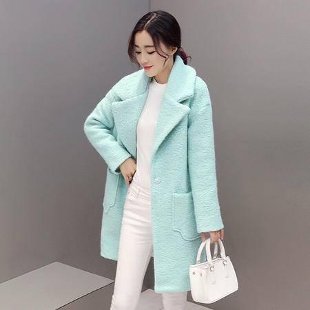 JEANE-SUNP2016新款西装领毛呢外套女冬装大码韩版中长款高档羊毛呢大衣