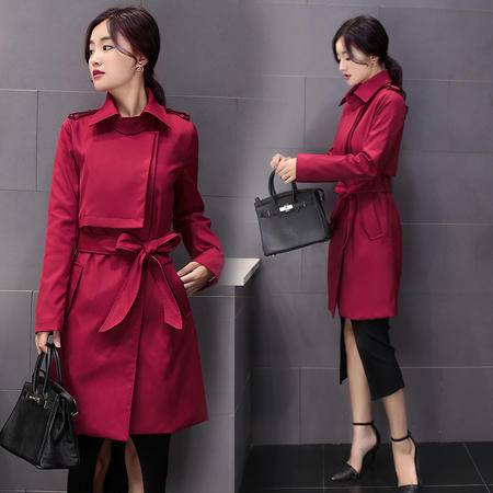 JEANE-SUNP2016新款女秋装OL女式风衣中长款大码修身显瘦外套韩版排扣大衣潮