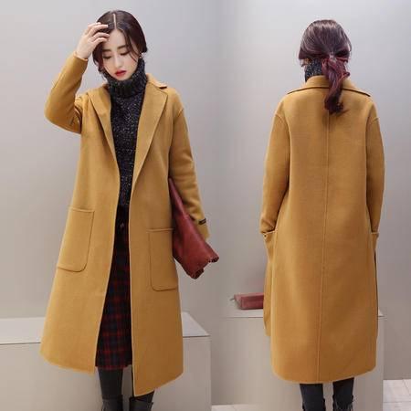 JEANE-SUNP2016冬季新款女装羊毛呢中长款大衣英伦风修身显瘦呢子外套潮