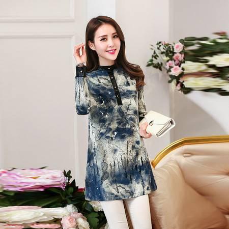 JEANE-SUNP2016年春季新款韩版雪纺修身连衣裙水墨画印花通勤连衣裙潮