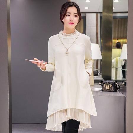 JEANE-SUNP2016秋冬新款甜美连衣裙荷叶边气质打底韩版半高领中长款时尚女