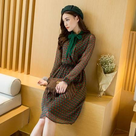 JEANE-SUNP2016春装韩版修身海边度假波点雪纺连衣裙长袖波西米亚长裙沙滩裙