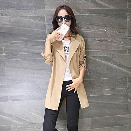 JEANE-SUNP2016春季新品韩版修身中长款休闲外套大翻领长袖风衣女式显瘦薄潮