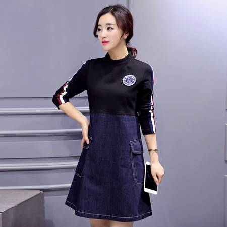 JEANE-SUNP2016春装新款韩版修身立领针织拼接牛仔连衣裙A字中裙潮