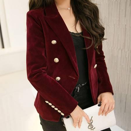 JEANE-SUNP2016春装新款修身长袖丝绒小西装女装优雅气质ol修身韩版短外套