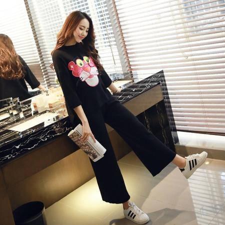 JEANE-SUNP2016春新款潮休闲时尚宽松个性魅力卡通黑色直筒针织套装运动服
