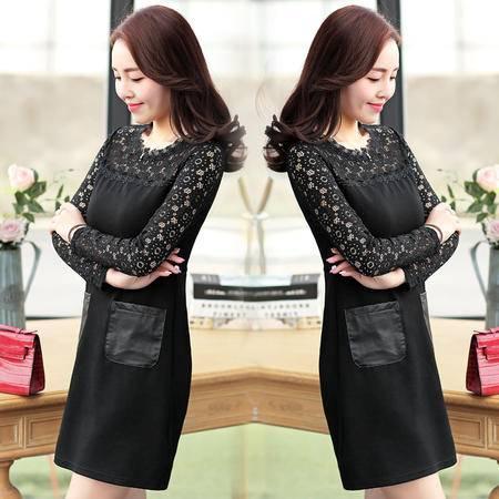 JEANE-SUNP2016春季新款女装韩版修身气质打底裙中长款镂空蕾丝拼接连衣裙女