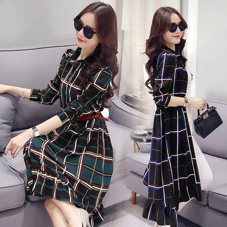 JEANE-SUNP2016秋季新款时尚女韩版经典格子款单排扣中长款优雅连衣裙