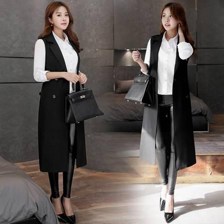 JEANE-SUNP2016春装新款女装韩国长款西装黑色马甲外套女韩版春秋学院风坎肩