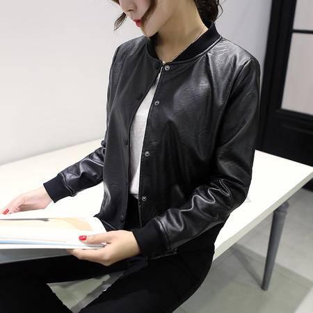JEANE-SUNP2016春秋新款韩版学生夹克加厚修身圆领机车皮衣女短款pu皮外套潮