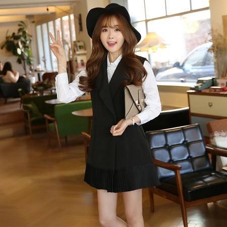 JEANE-SUNP2016春季女装新款韩版修身显瘦双排扣中长款马甲时尚简约无袖马夹