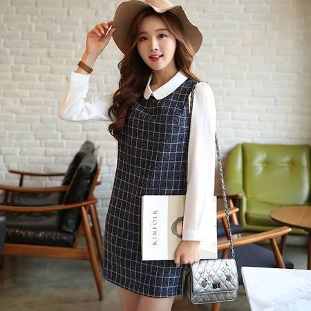 JEANE-SUNP2016春装新款韩版格子拼接长袖连衣裙娃娃领假两件套修身显瘦女潮