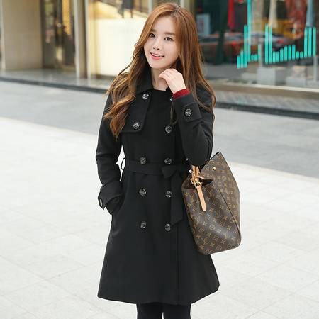 JEANE-SUNP2016年新款韩版加厚风衣加厚系带双排扣风衣中长款风衣西装领风衣女