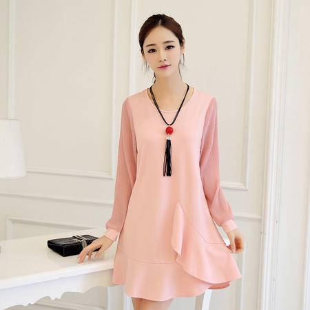 JEANE-SUNP2016春季新款气质女装短裙宽松圆领荷叶边裙纯色休闲长袖连衣裙