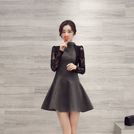 JEANE-SUNP2016春装新款衣纱美姿单件中裙女装常规新款A型韩版通勤连衣裙